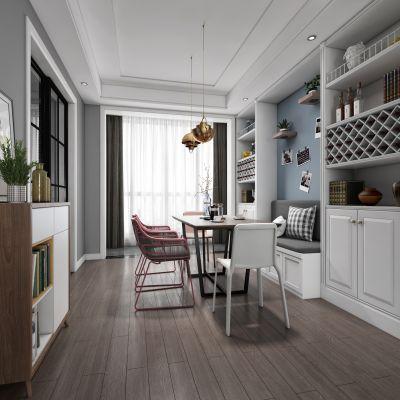 北欧客厅餐厅,沙发,餐桌,电视柜,吊灯,装饰画3D模型