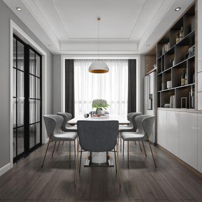 现代轻奢客厅餐厅,沙发,餐桌,电视柜,吊灯,装饰画3D模型