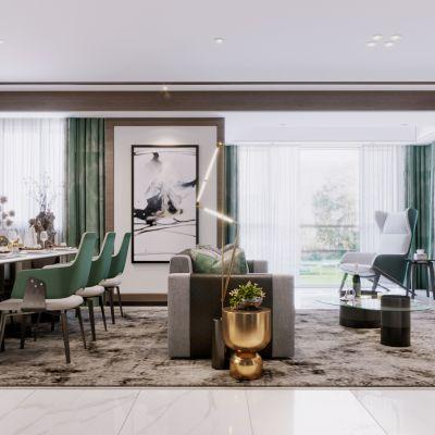 2020-现代客餐厅-Corona表现场景3D模型