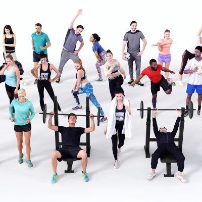 现代人物,多人,运动人物,健身人物,瑜伽人物,美女,健身房人物,跑步人物