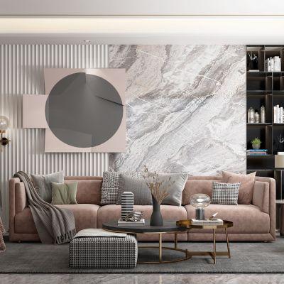 现代风的客厅3D模型