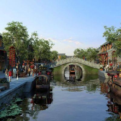 中式古镇水系旅游商业街酒吧文化街写实场景