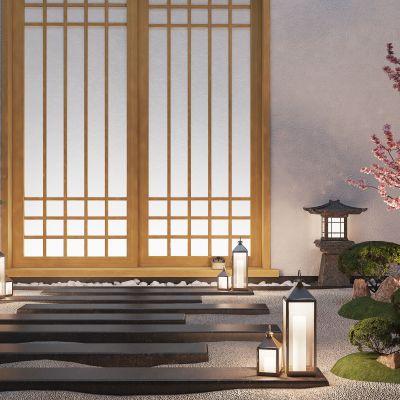 日式韩式庭院景观庭院3D模型