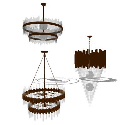 欧式水晶金属吊灯3D模型