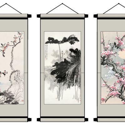 中式山水画卷轴画挂画字画国画3D模型