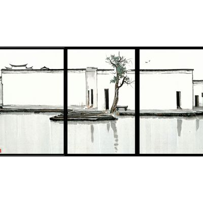 新中式抽象挂画3D模型