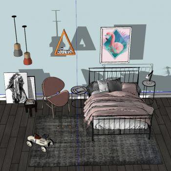 工业风现代轻奢儿童房3D模型