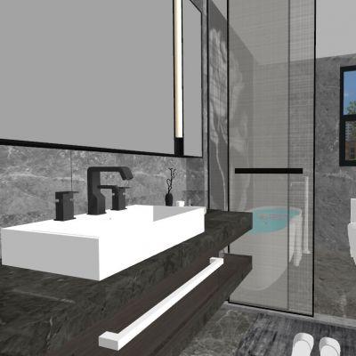 现代简约卫生间3D模型