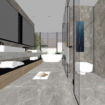 现代北欧新中式卫生间淋浴间3D模型