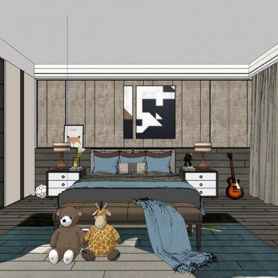 现代工业北欧儿童房3D模型