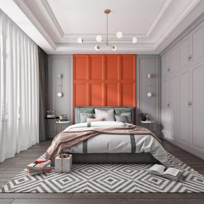 现代卧室,床,电视,窗帘,装饰画3D模型