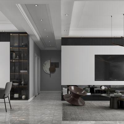 现代极简黑白灰简约客厅餐厅,沙发,餐桌,电视柜,吊灯,装饰画3D模型