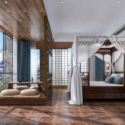 艾巴优-2020VIP学员投稿作品-中式卧室3D模型