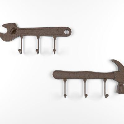 工业风扳手锤子挂钩墙饰3D模型