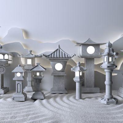 新中式户外灯 石灯3D模型