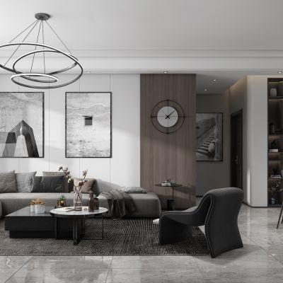 现代极简黑白灰简约客厅餐厅,沙发,餐桌,电视柜,吊灯,装饰画2014版3D模型