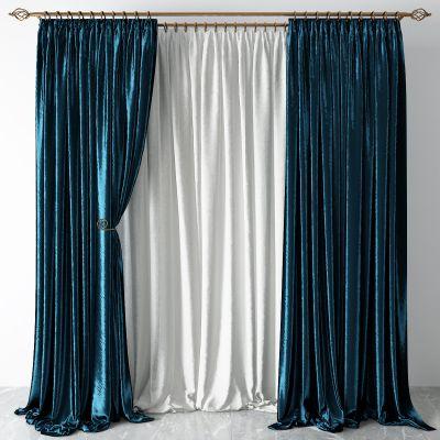 简欧布艺窗帘3D模型