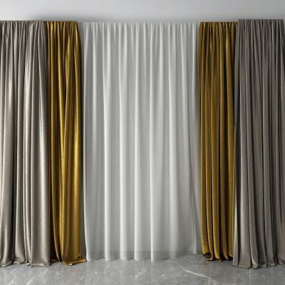 现代窗帘 纱帘3D模型