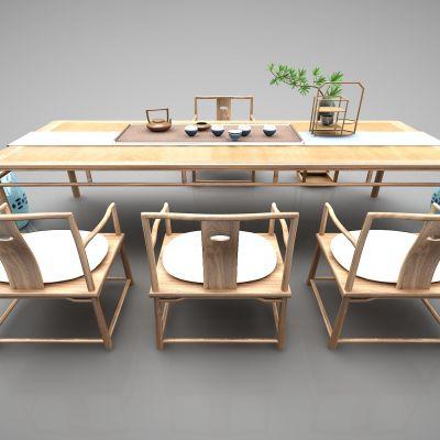 新中式风格茶桌3D模型