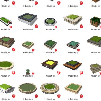 现代风格种植池座椅 公园广场树池SU模型3D模型