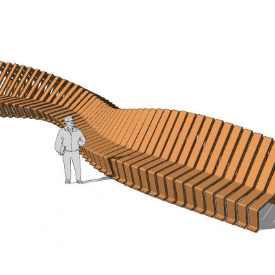 现代风格异形座椅 景观小品SU模型3D模型