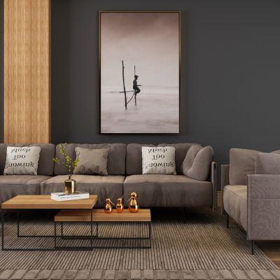 现代布艺沙发茶几组合3D模型