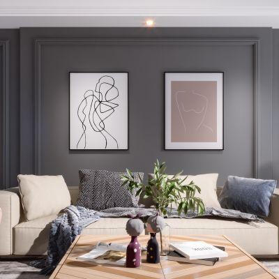 美式现代简约轻奢风格客厅3D模型