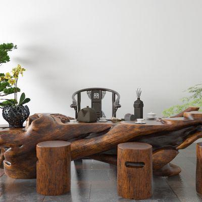 中式茶桌 根雕茶海3D模型