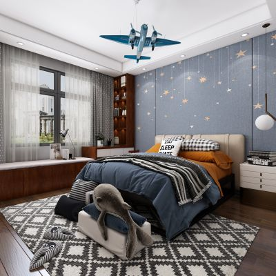 新中式儿童房,儿童房,3D模型