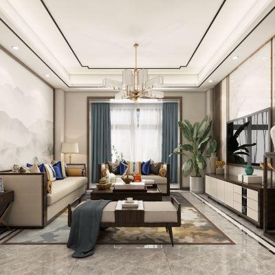新中式客餐厅,新中式客厅,客厅,新中式,3D模型