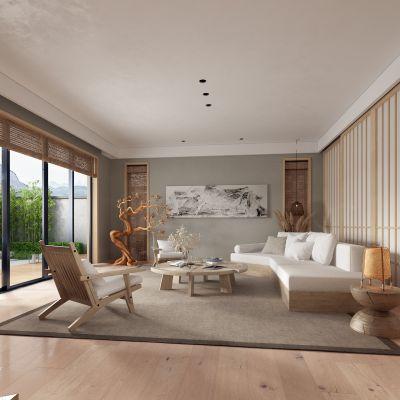 新中式客厅 实木沙发3D模型