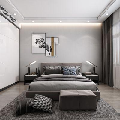 现代卧室,轻奢卧室,主卧,卧室,3D模型
