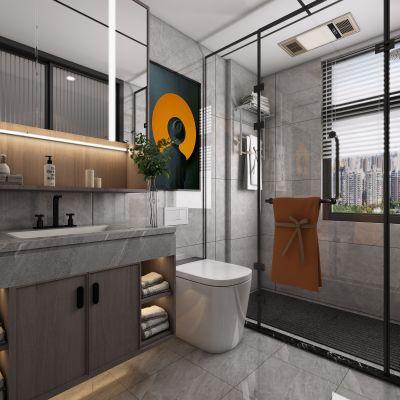 现代卫生间,卫生间,3D模型