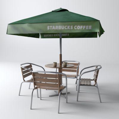 工业风户外桌 太阳伞3D模型