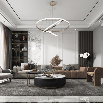 现代客厅,沙发,电视柜,吊灯,装饰画3D模型
