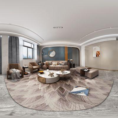 现代轻奢客厅全景模型