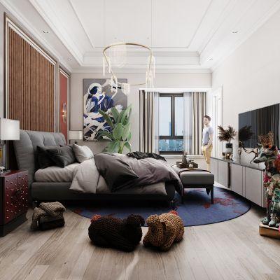 现代卧室 狐狸 玩具3D模型
