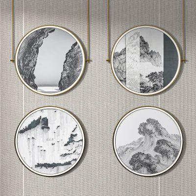 新中式装饰画装饰挂件3D模型