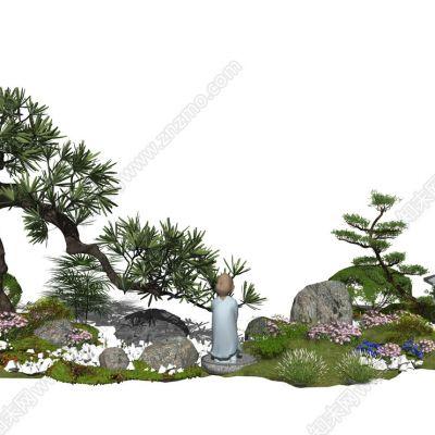 新中式景观树松树植物盆栽景观小品石头3D模型