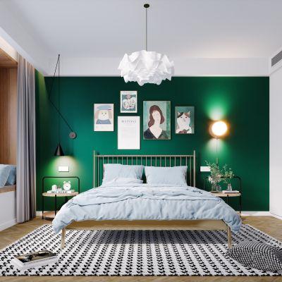北欧现代简约极简轻奢风格卧室3D模型