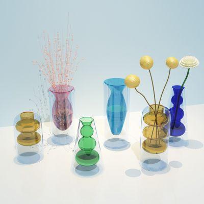 北欧彩色透明玻璃花瓶家居装饰品摆件3D模型