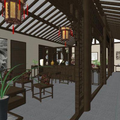 新中式风格客厅3D模型