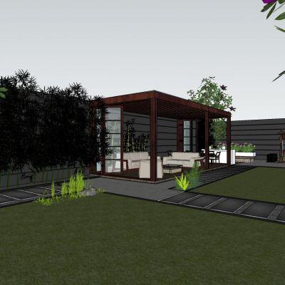 新中式风格庭院3D模型