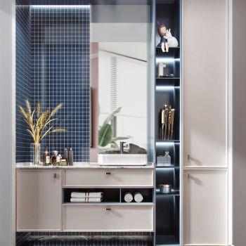 现代风格卫浴柜 洗脸盆 化妆品 装饰品 摆件3D模型