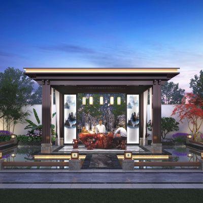 新中式庭院凉亭3D模型