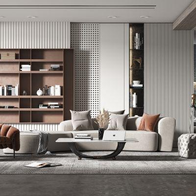 现代轻奢风格客厅3D模型