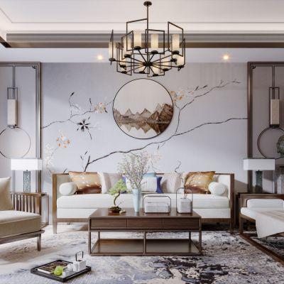 新中式现代简约轻奢风格客厅3D模型