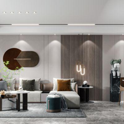 现代客餐厅 沙发 餐桌 酒柜 背景墙3D模型