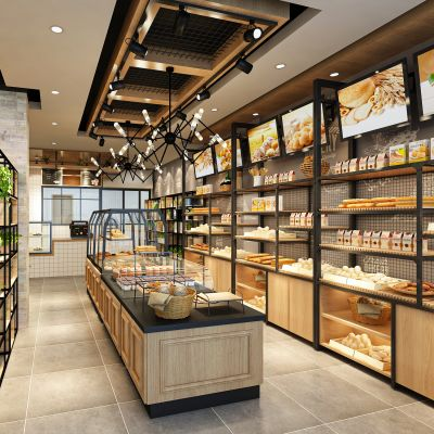 工业LOFT甜品面包店3D模型