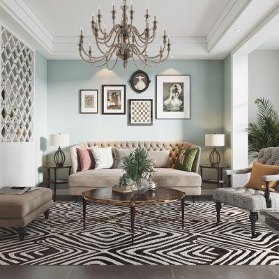 美式客厅餐厅,沙发,餐桌,电视柜,吊灯,装饰画3D模型